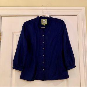 Elizabeth McKay Navy Blue Silk Blouse, Size 6